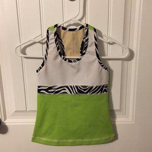 Triple Flip White/Lime Green Zebra Tank Top Size 3